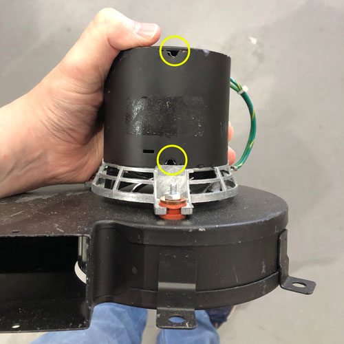 Blower Motor for the NCAT Ignition oven with oil application holes highlighted in yellow