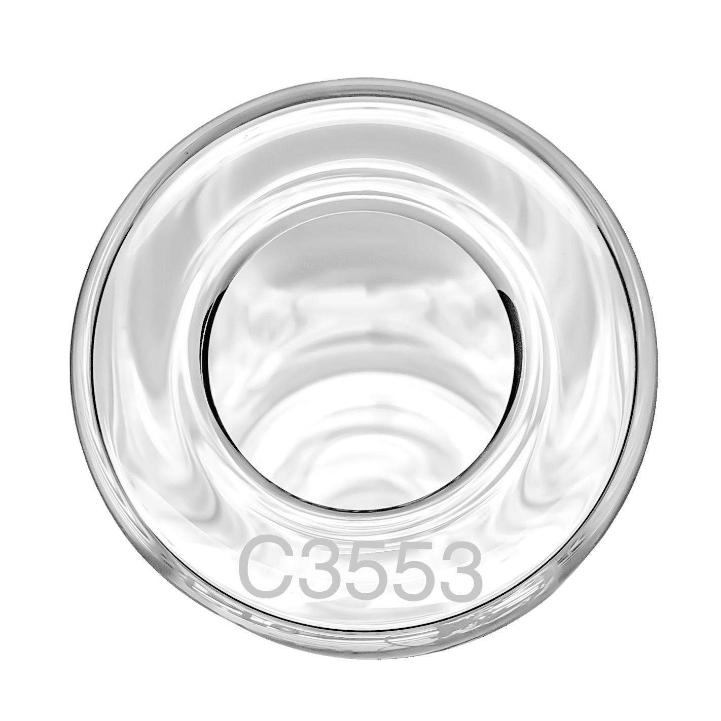 Image of a Gordon Technical RTFO bottle showing its serial number on the rim of the glass