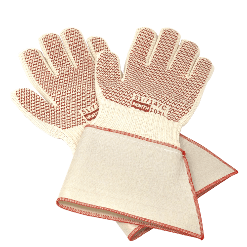 North Grip N® Hot Mill gloves shocasing a protective gauntlet extending their length